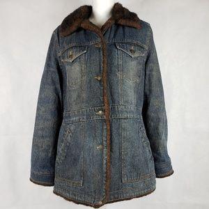 MARVIN RICHARDS Denim Faux Fur Jacket